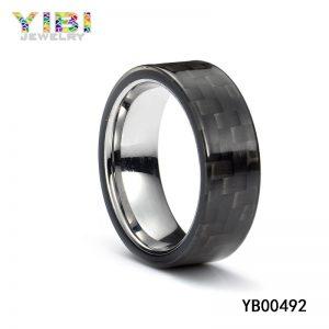 Stainless steel carbon fiber ring, men wedding band