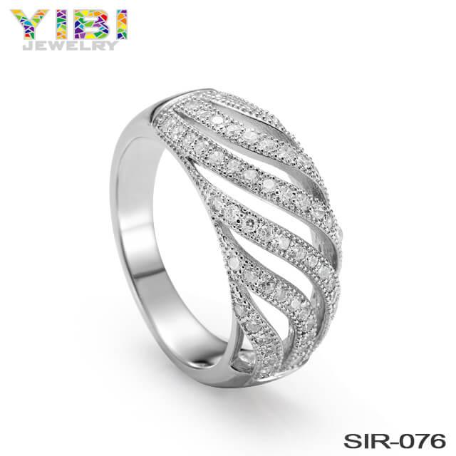 Elegant Women Brass CZ Ring