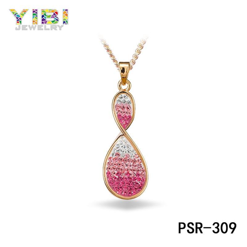 brass pink cubic zirconia pendant