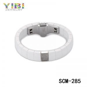 CZ Inlay White Ceramic Stainless Steel Bracelets