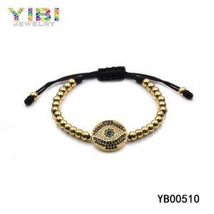 Braided bead bracelet with multi colored gemstone inlaid