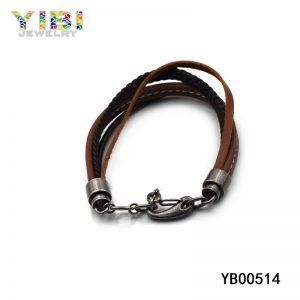 Handmade stainless steel men's braided leather bracelets