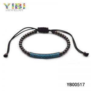 Men's adjustable black bead bracelets with turquoise inlay
