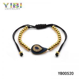 Couples beaded bracelets with gemstone inlaid