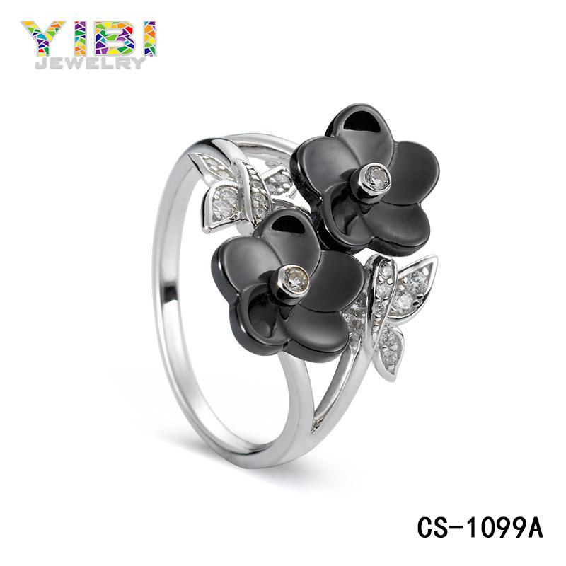 Black Ceramic Flower Rings