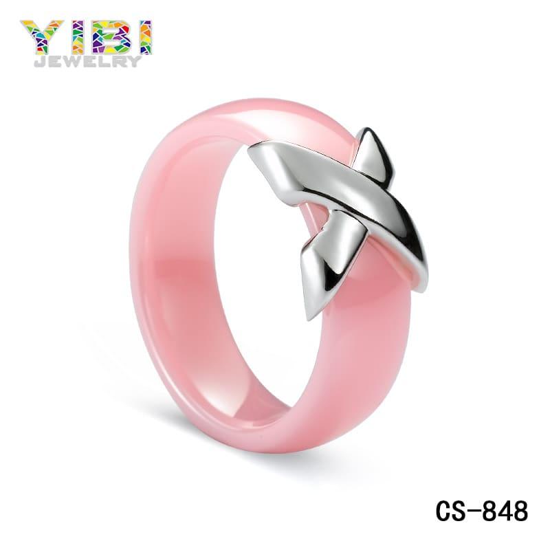 Pink ceramic silver jewelry