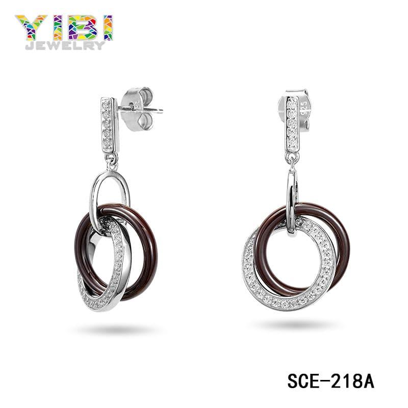 Ceramic silver cubic zirconia jewelry