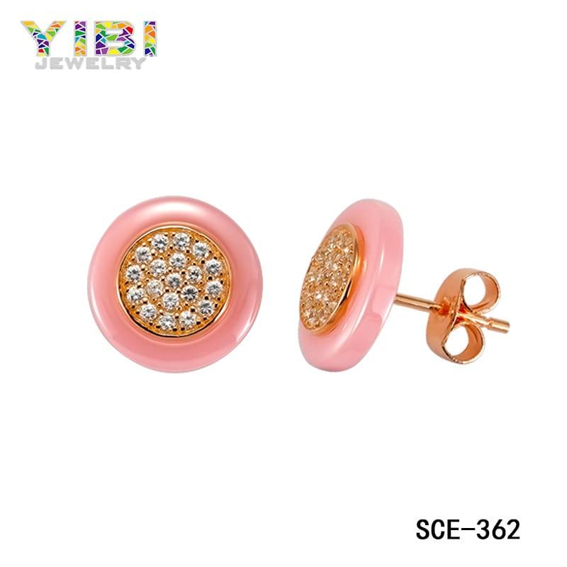 Ceramic cubic zirconia earrings