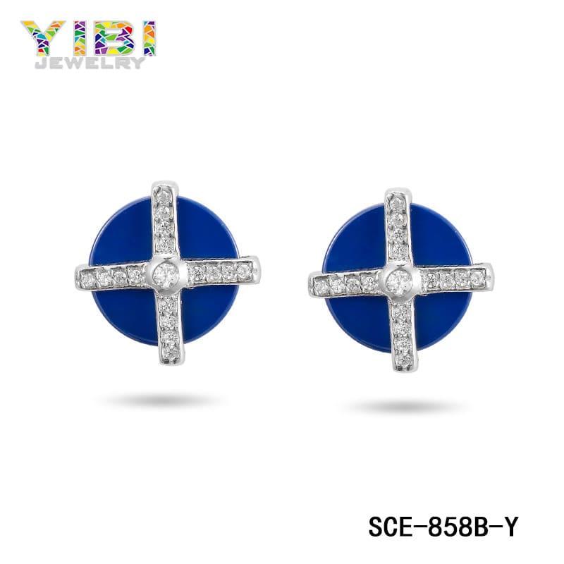 Ceramic silver cross earrings