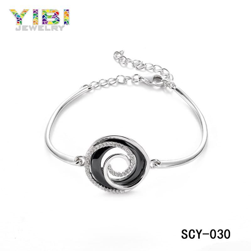 Ladies silver ceramic bracelet