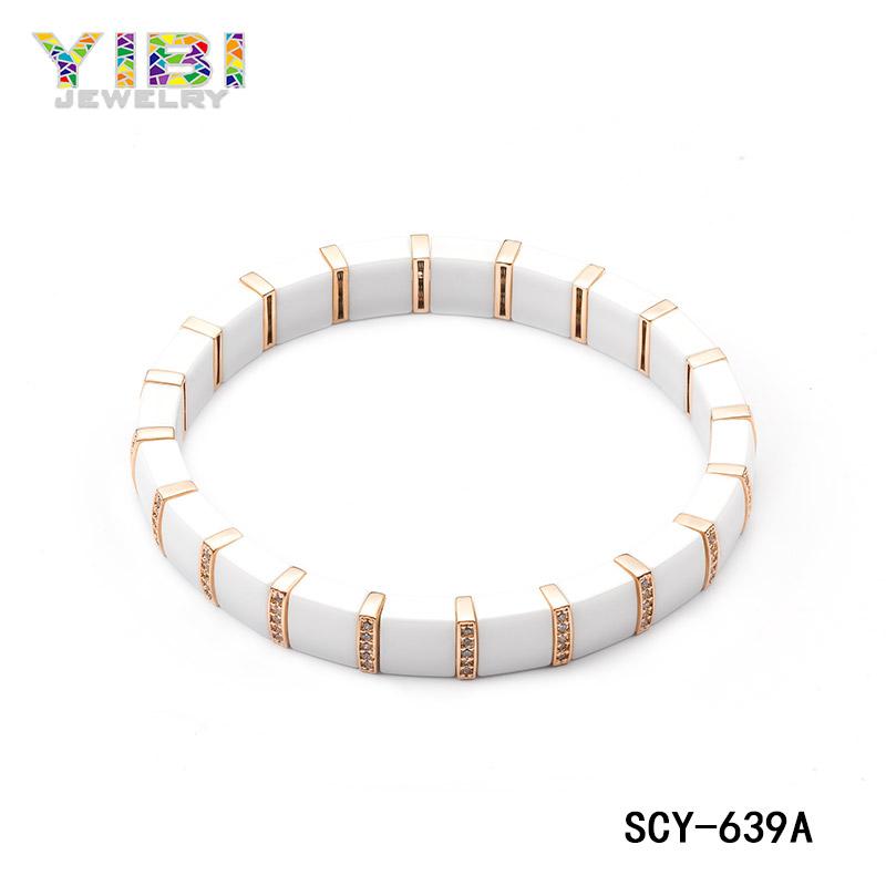 White ceramic silver bracelet