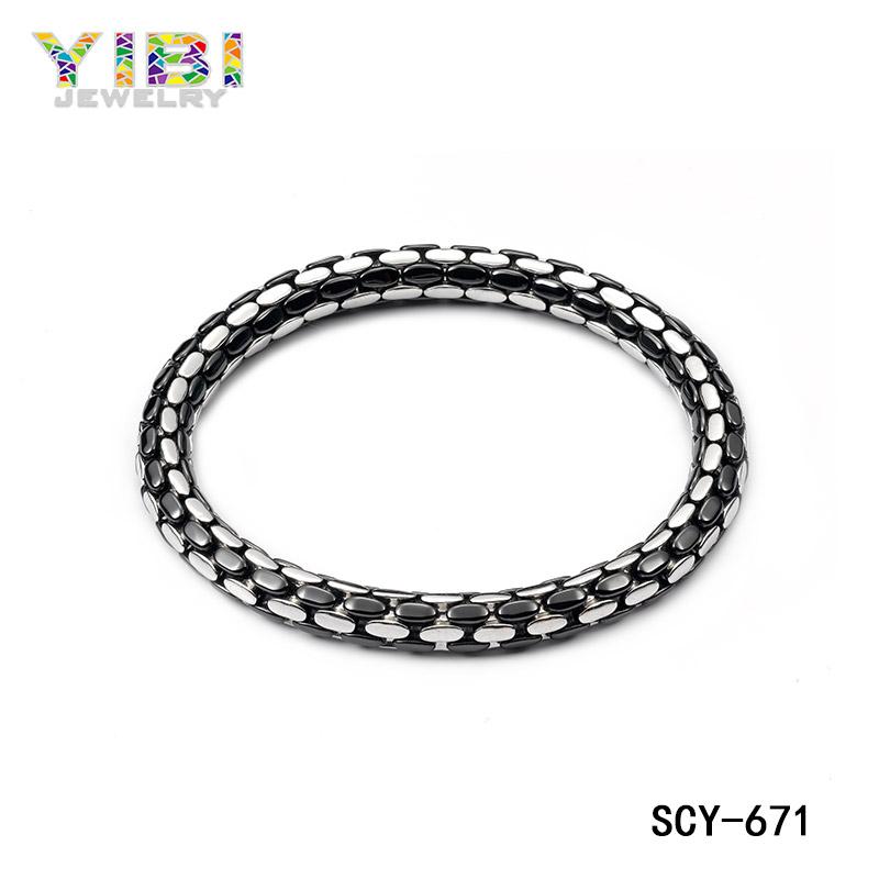 Modern ceramic silver bracelet