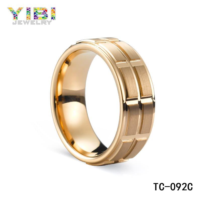 Brushed rose gold tungsten wedding band