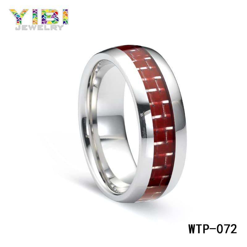 tungsten red carbon fiber ring