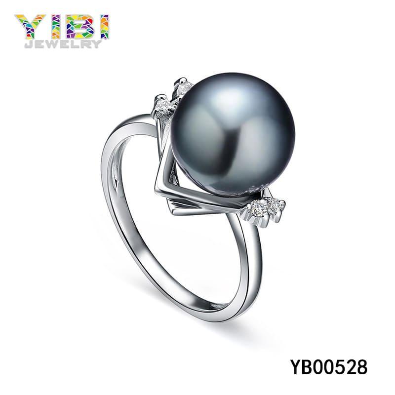 Natural tahitian black pearl ring OEM factory