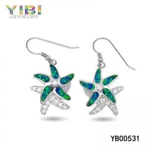 Brass gemstone earrings jewelry with australian opal