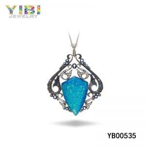 Brass necklace jewelry with australian blue fire opal