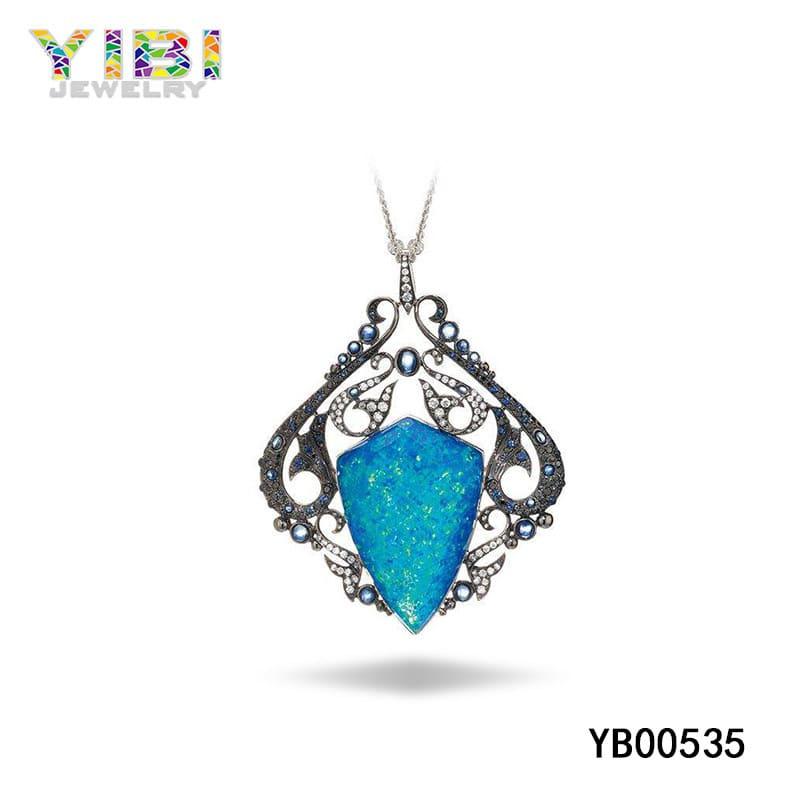 Brass australian opal necklace