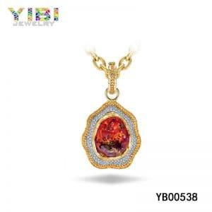 Unusual brass pendant jewelry with australian fire opal