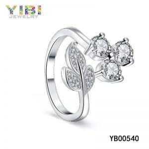 Brass zircon crystal ring, zircon gemstone jewelry