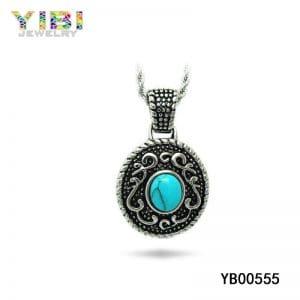 Antique brass turquoise pendant