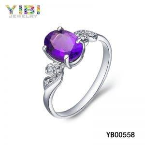 Women brass rings with light purple uruguayan amethyst inlay