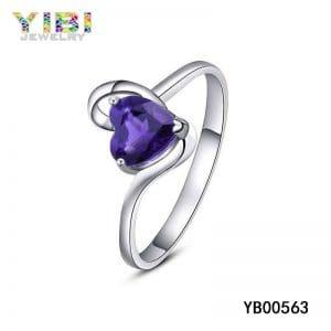 Brass wedding ring with lilac amethyst stone inlay