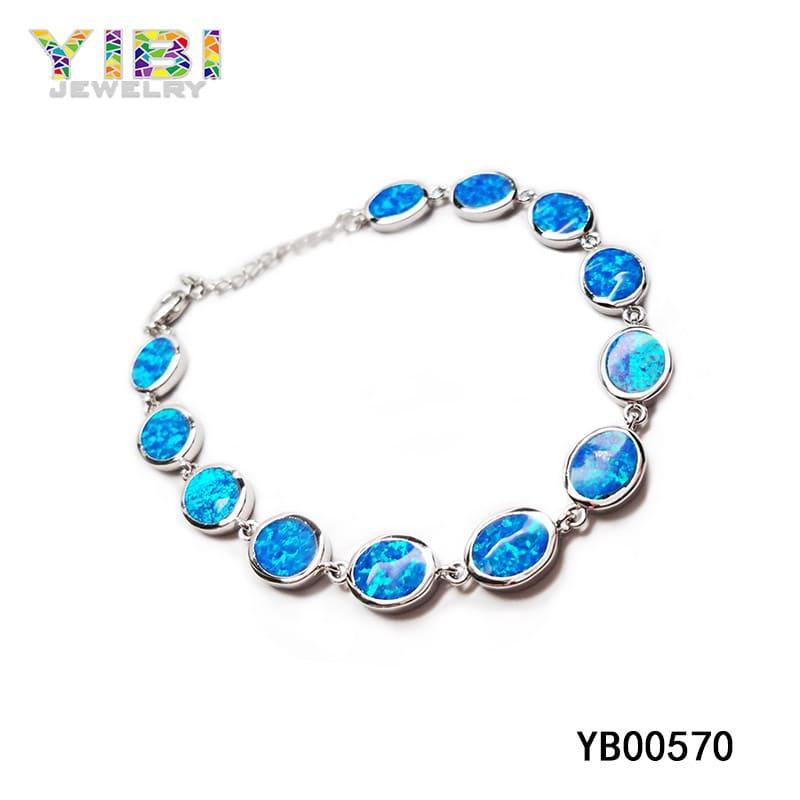 Blue fire opal bracelet