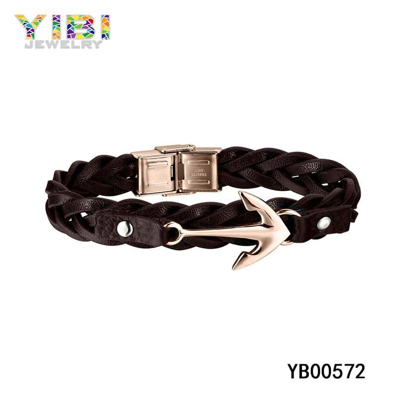 Men's leather metal bracelets