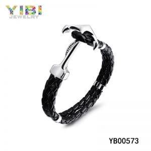 Leather Metal Anchor Bracelet