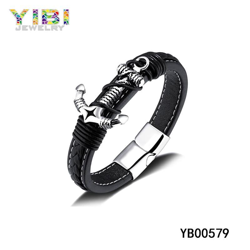Men's leather anchor bracelet