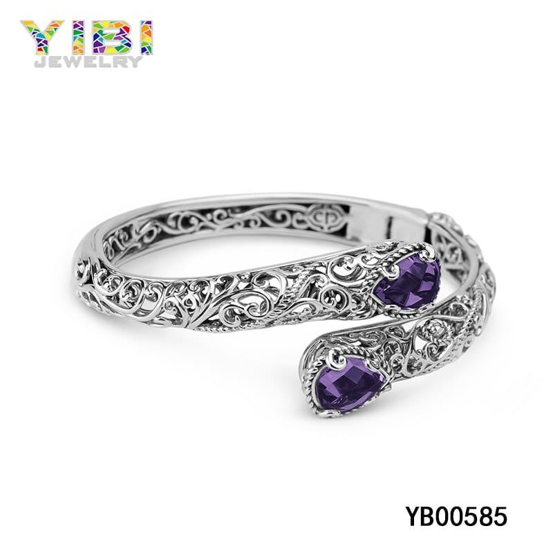 Brass amethyst gemstone bracelet