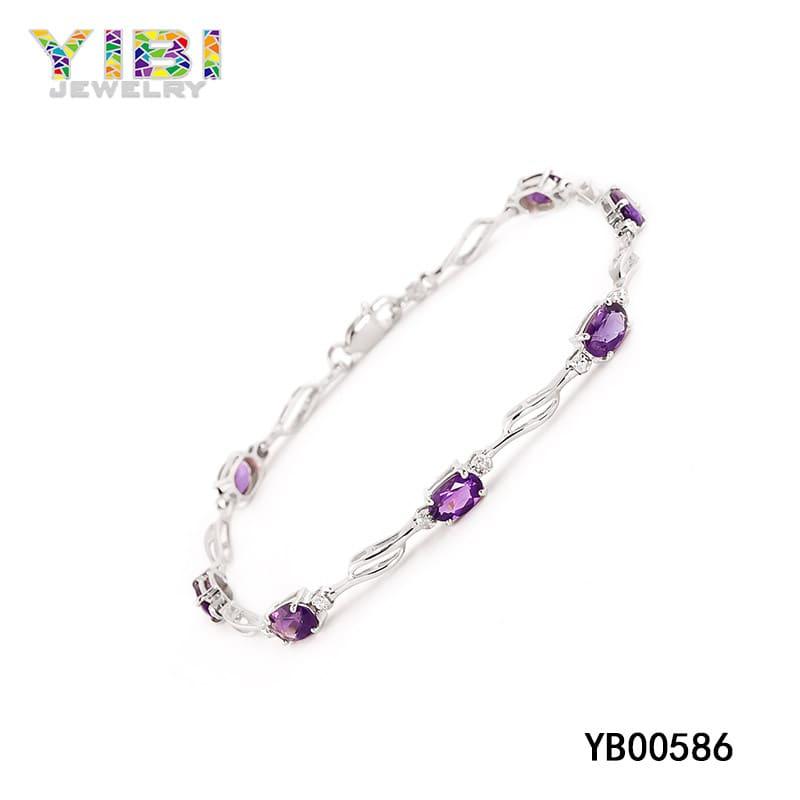 Purple amethyst birthstone bracelet