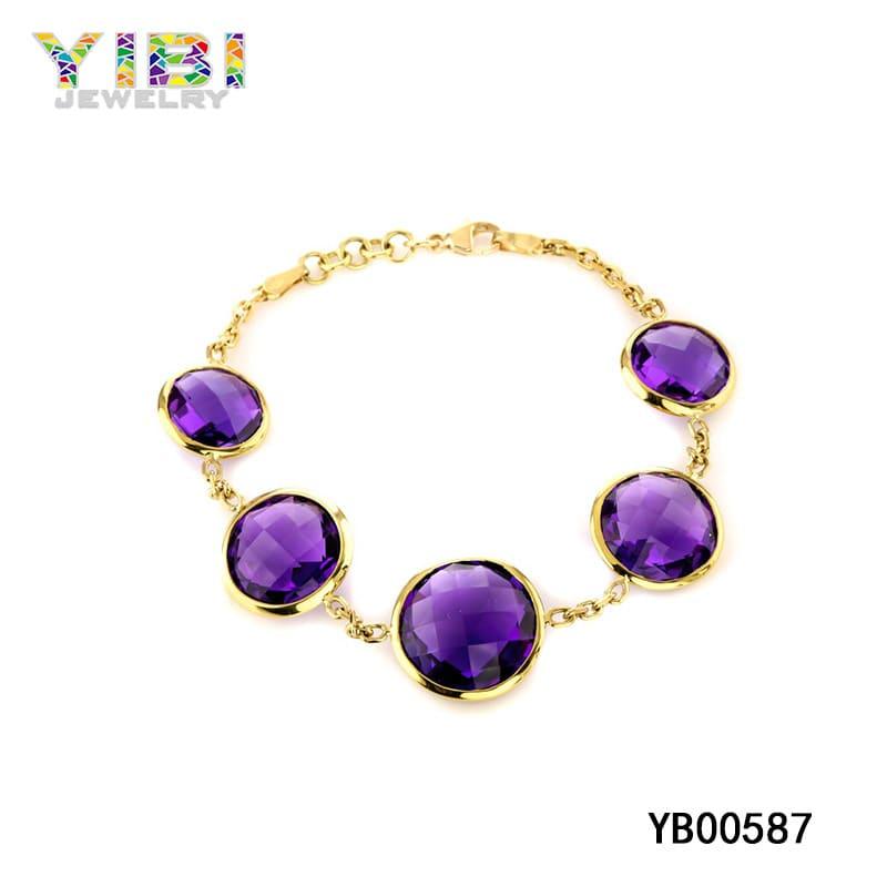 amethyst bracelet gold