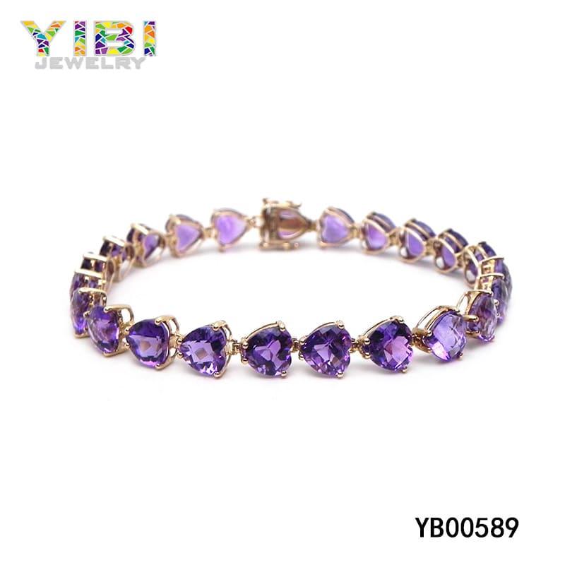 Brass amethyst heart bracelet