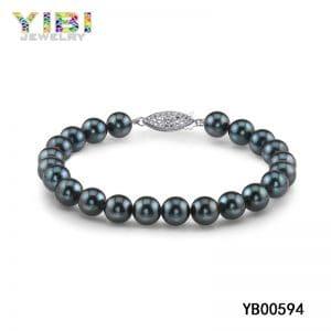 Tahitian pearl bracelet, black pearl bracelet