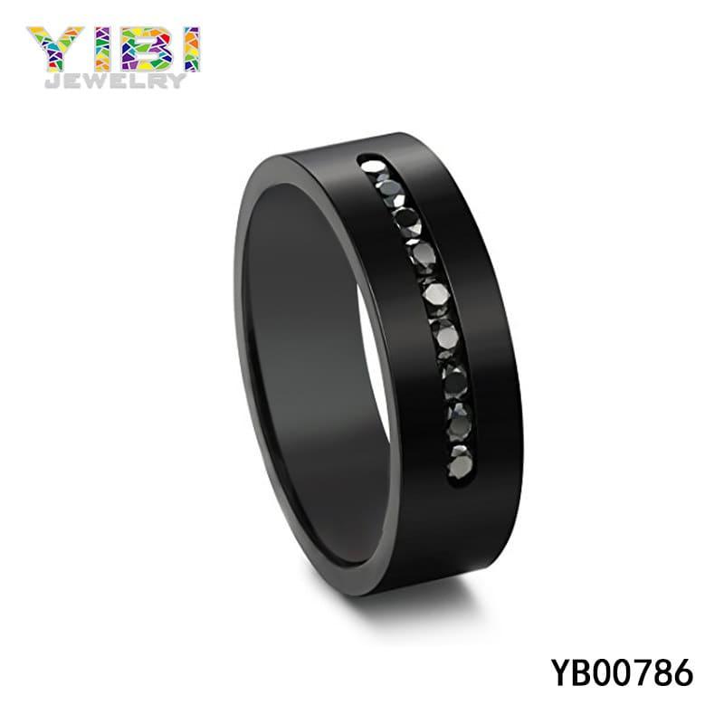 Black titanium wedding bands