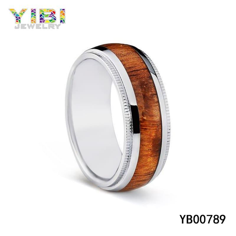 Wood inlay titanium wedding bands