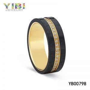 Titanium carbon fiber wedding band