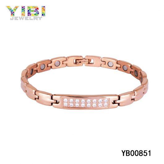 Rose Gold Plated Titanium Cubic Zirconia Bracelet