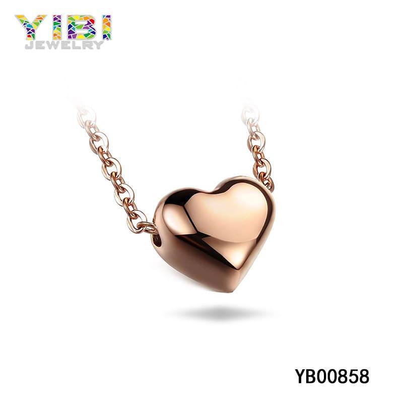 Rose gold titanium heart necklace