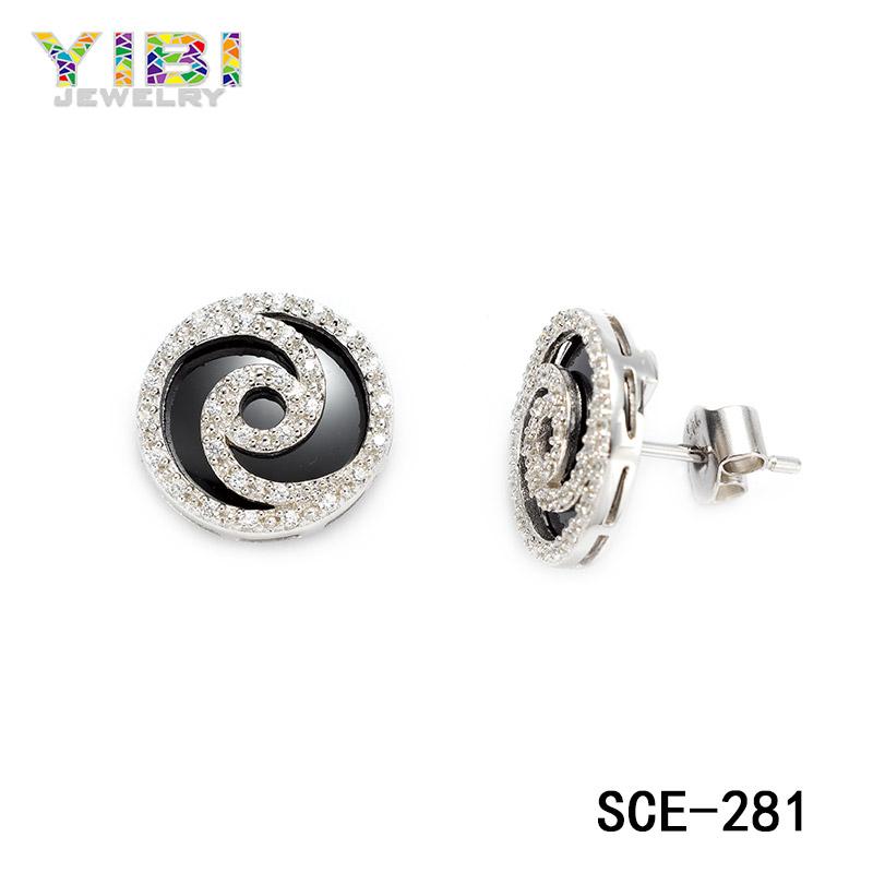 ceramic silver cubic zirconia stud earrings