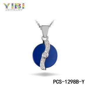 elegant blue ceramic pendant