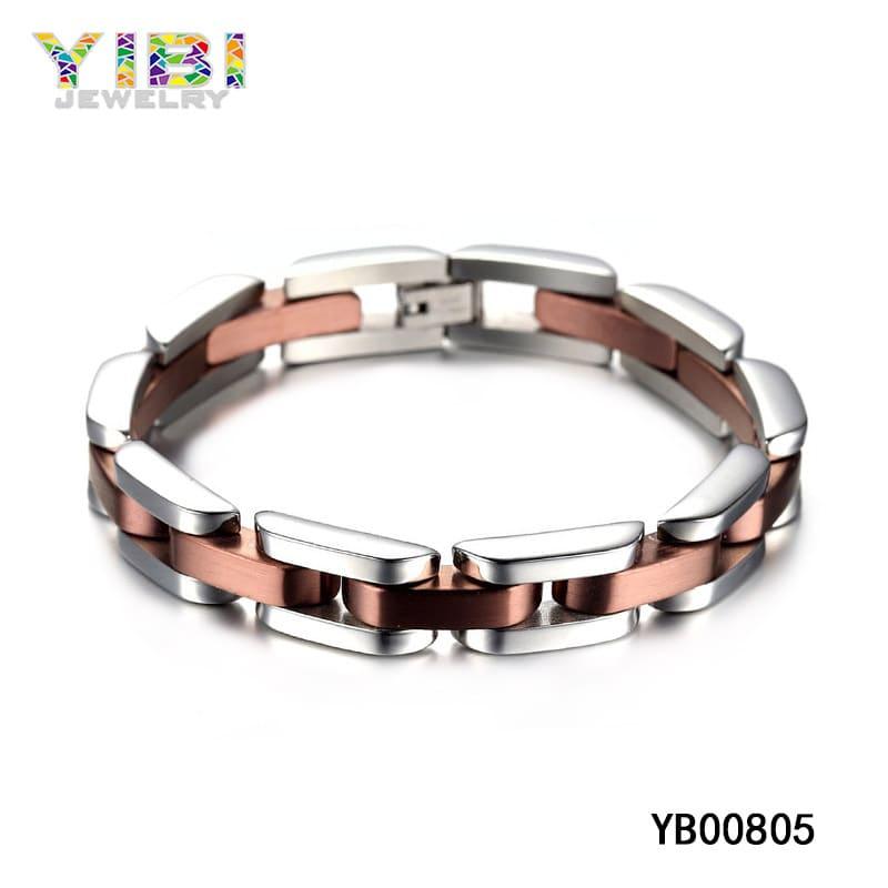 Rose gold plated tungsten carbide bracelet