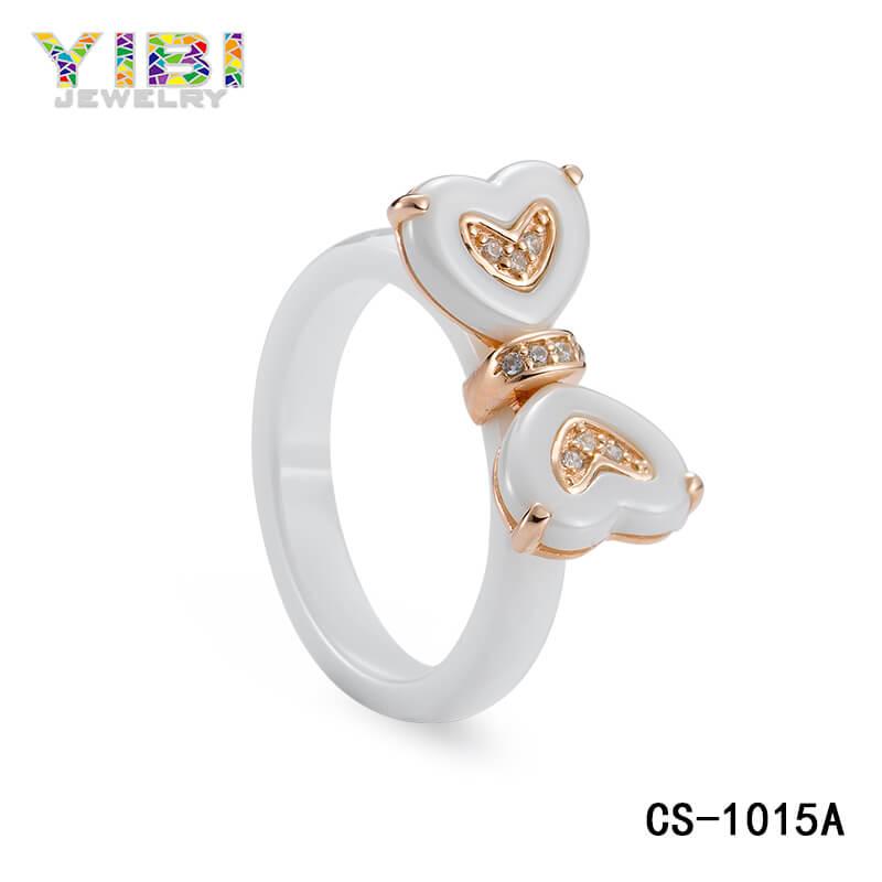 white ceramic heart ring