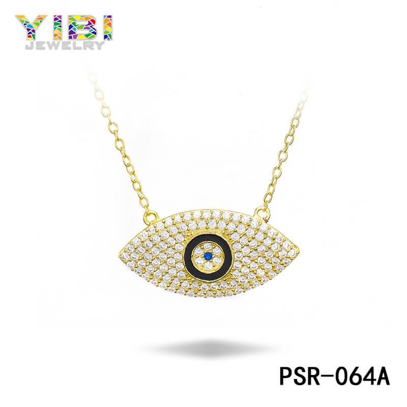 Gold Plated Brass Evil Eye Necklace