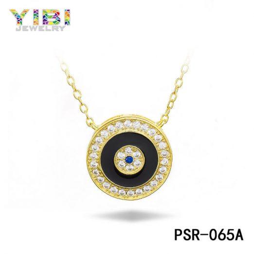 Brass CZ Lucky Eye Necklace