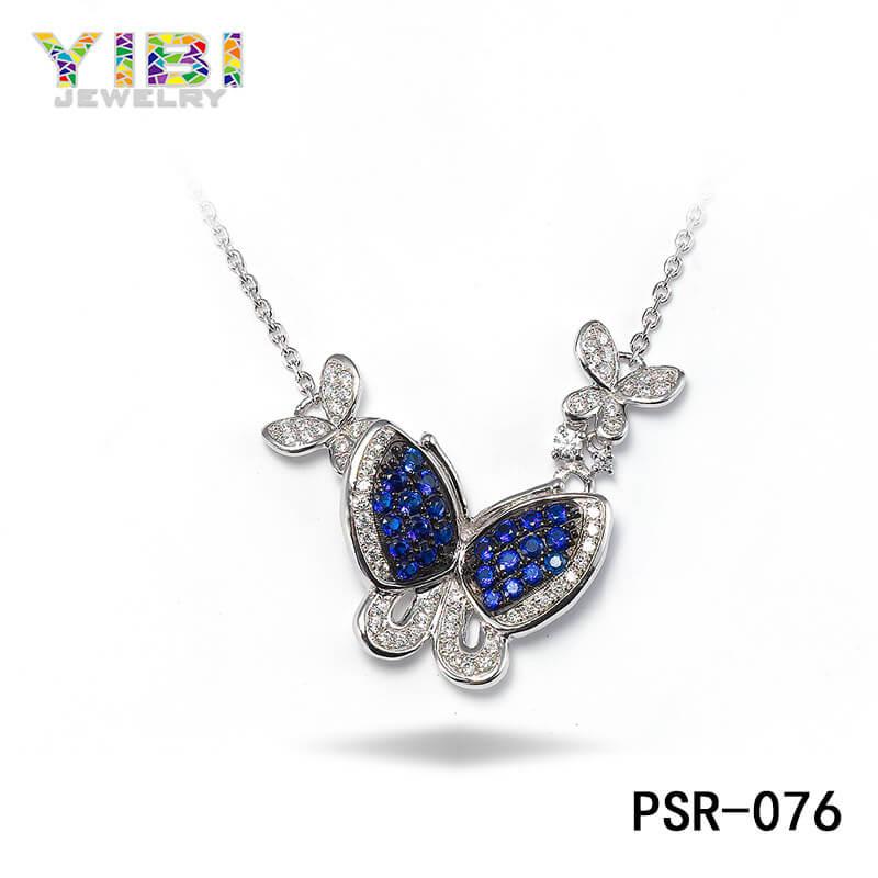 Brass Blue Cubic Zirconia Butterfly Necklace