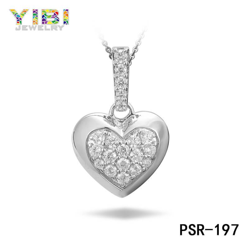 Brass Cubic Zirconia Heart Pendant