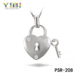 Cubic Zirconia Inlay Brass Heart And Key Pendant